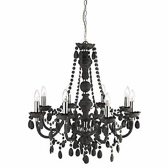 8 Light Chandelier Grey Finish With Acrylic Crystals