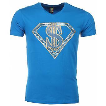 T-shirt-Superman Dollar Print-Blue