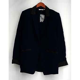 Susan Graver SizeBlazer Ponte Jacket w/ Faux Leather Trim Navy Blue A268351