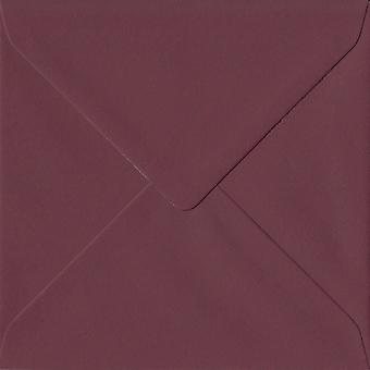 Bordeaux Red Gummed 130mm Square Coloured Red Envelopes. 120gsm GF Smith Colorplan Paper. 130mm x 130mm. Banker Style Envelope.