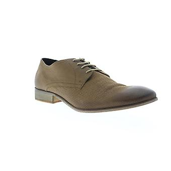 Frank Wright Muddy  Mens Brown Leather Low Top Plain Toe Oxfords Shoes