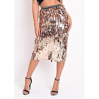 Alto Waisted Metallic Tassel Fringe Midi Gonna Rosa Oro