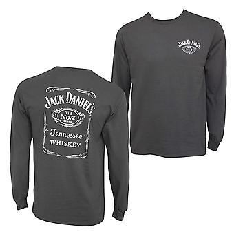 Jack Daniel's Bottle Label Long Sleeve Men's Grey T-Shirt