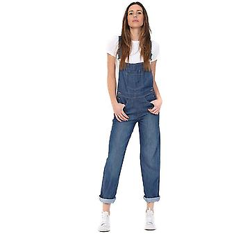 Ladies regular fit dungarees - lightwash