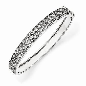 925 Sterling Silver Hinged Rhodium pläterad Box Catch Stängning CZ Cubic Zirconia Simulerad Diamond Cuff Stackable Armband Br