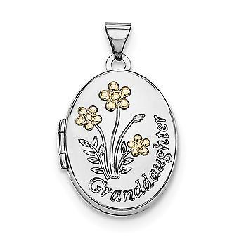 925 στερλίνα ασημένια με 14Κ χρυσό Plated21mm οβάλ εγγονή φωτογραφία μενταγιόν κολιέ κρεμαστό κόσμημα κοσμήματα για τις γυναίκες