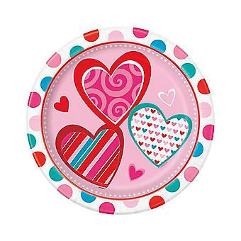 SALE - 8 Bright Hearts Party Paper Plates - Valentines Day