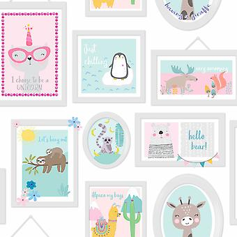 Over the Rainbow Animal Frames Wallpaper Teal / Pink Holden 90971