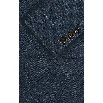 Scottish Harris Tweed Mens Blue Suit Regular Fit 100% Wool Herringbone