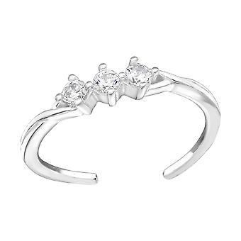 Sparkling-925 Sterling hopea toe renkaat-W38442X
