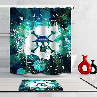 Turquoise And Teal Danger Skull Shower Curtain