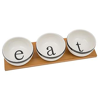 White Bamboo 3 Bowl Set Eat