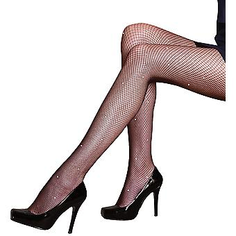 Silky Scarlet All Over Diamante Fishnet Tights