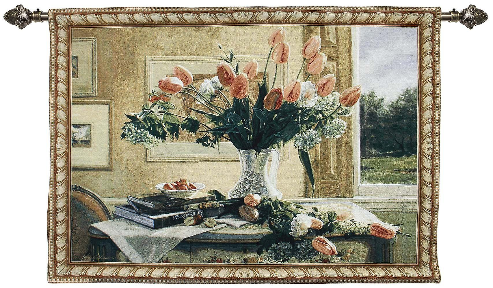Tulips in a vase wall hanging by signare tapestry / 136cm x 98cm / wh-tulipvs