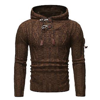 Allthemen Men's Horn Button Hooded Casual Knit Sweater Winter Outwear Warm Pullover Outer Round Collar