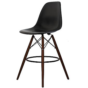 Charles Eames Style Black Plastic Bar Stool - Walnut Legs