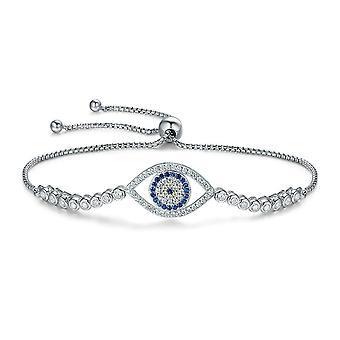 Bracelet Femme Oeil orné de Cristal de Swarovski Blanc et bleu et Argent 925/1000 8370