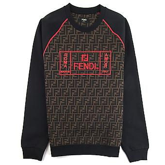 Fendi FF Print bordado logo camisola preto / vermelho