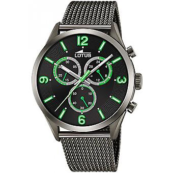 Lotus CHRONO Watch 18650-2 - Chrono Steel Pvd Black Index Green Men