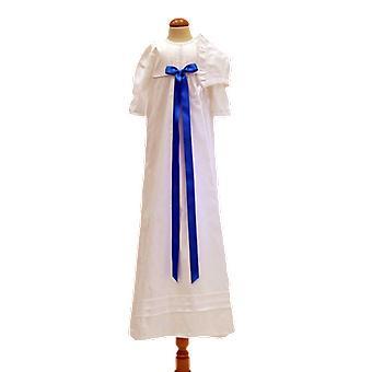 Abito di battesimo in cotone con bonnet, Rosette Turquoise Tr.b.la