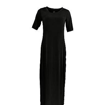 G.I.L.I. got it love it Dress Short-Sleeve Side Slit Maxi Black A304668