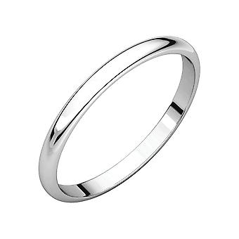 14k White Gold 1mm Light Half Round Band Ring Size 6 Jewelry Gifts for Women - .8 Grams