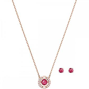 Swarovski Sparkling Dance Rose Gold Tone Plated & Red Crystal Round Necklace & Earring Set
