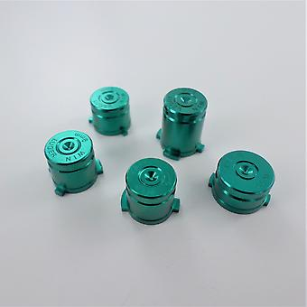 Metal button set for xbox one wireless controller aluminium alloy bullet inc a b x y & guide button - green | zedlabz
