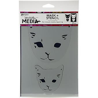 Dina Wakley Media Stencils 9&X6& - Cat Head Maskit