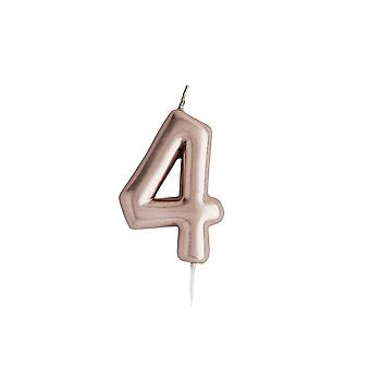 Rose Gold Birthday Party Candle, Number 4 Rose Gold Candle