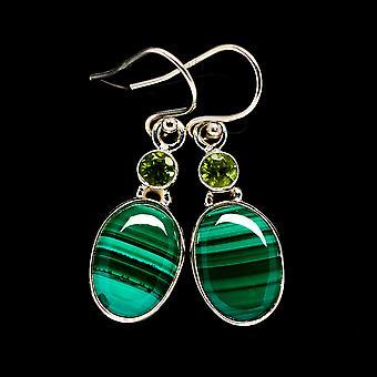 Malachite, Peridot Earrings 1 1/2