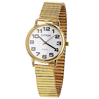 Citron Gents Classic Big Numbers White Dial Goldtone Expander Strap Watch