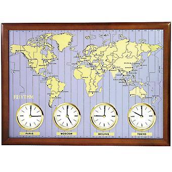 Rhythm 7902 Wall Clock World Time Clock Quartz Analog Wood Frame with Metal Dial