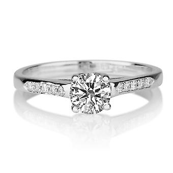 1/3 Carat F SI1 Diamond Engagement Ring 14k White Gold Classic Ring Vintage Ring Unique Ring