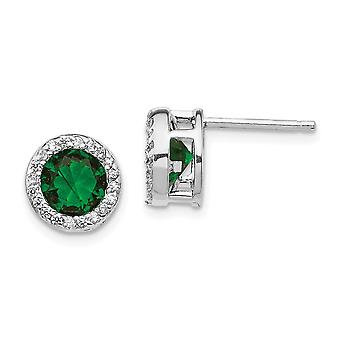 Cheryl M 925 Sterling Silver Glass Simulated Emerald and Cubic Zirconia Post Earrings Measures 9x9mm W Jewelry Gifts for