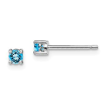 925 Sterling Silver 3mm Round Swiss Blue Topaz Post Boucles d'oreilles Bijoux Cadeaux pour les femmes - .26 cwt