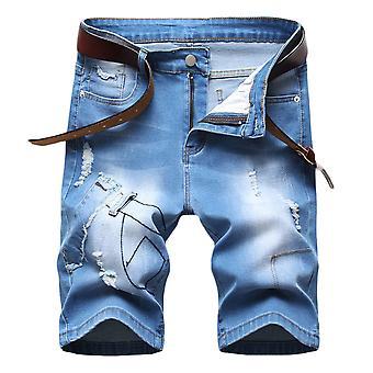 Allthemen Men&s Mid-Waist Casual Bluza na zamek dżinsowy krótkie spodnie
