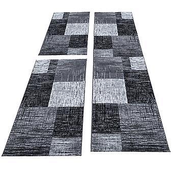 Mattbädd gräns 3 delar löpare kort stapel uppsättning grå svart fläckig
