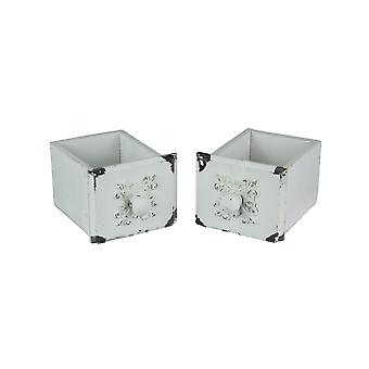 Set of 2 Square Distressed White Antique Drawer Look Tabletop Storage Boxes