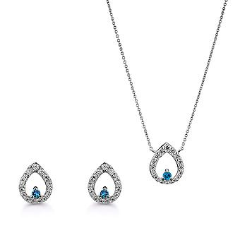 Orphelia Silver 925 Pendant and chain 45cm -Earring Drop  with Zirconium - Blue