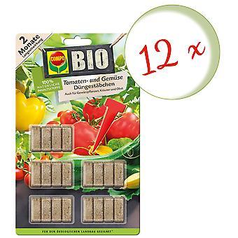 Sparset: 12 x COMPO ØKOLOGISK tomat og vegetabilsk gjødsel pinner, 20 stykker