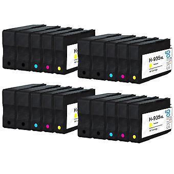 4 yhteensopivaa sarjaa, joissa 4 + extra musta HP 934 & 935 (HP 934XL & 935XL) -mustekasetti