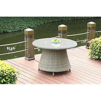 Polyrattan Table à manger classique 113 cm, ronde - caramel