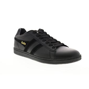 Gola Equipe  Mens Black Leather Lace Up Lifestyle Sneakers Shoes