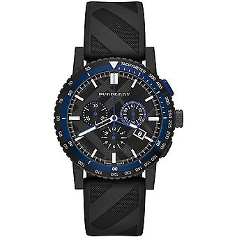 Burberry BU9806 The City Chronograph Black Dial Black Rubber Men's Watch