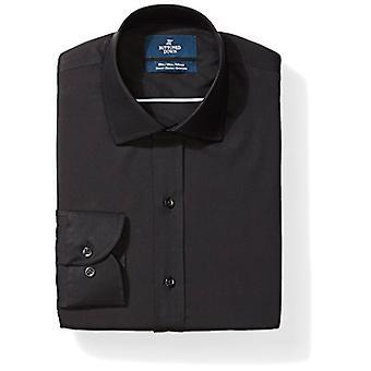 KNAPPET NED Menn's Slim Fit Stretch Poplin Non-Iron Dress Skjorte, Svart, 15.5...