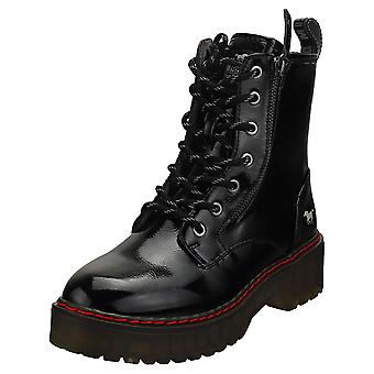 Mustang Lace Up Both Side Zip Womens Biker Boots in Black