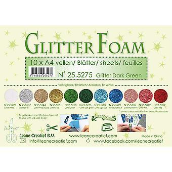Leane Creatief Glitter Foam Sheets A4 Glitter Dark Green