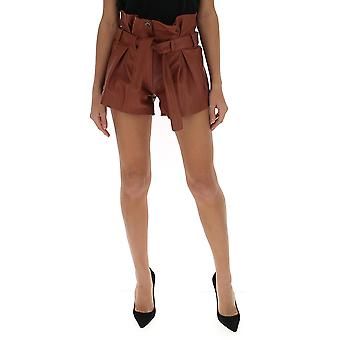 Attico Ats20l17327 Women's Brown Leather Shorts