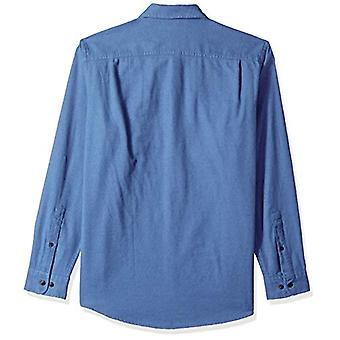 Essentials Men's Regular-Fit Langarm Solide Flanell Shirt, blau Hea...